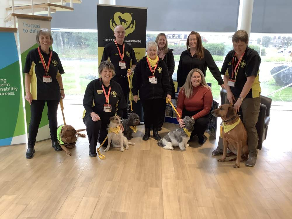 Therapy Dog Nationwide with staff from Urenco
